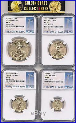 2015 $50, $25, $10, $5 Gold Eagle Set Ngc Ms70 First Day Of Issue Perfect Rare