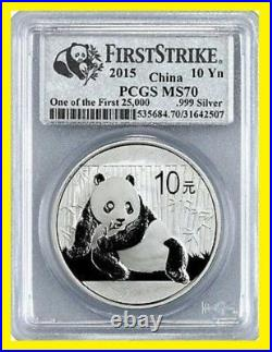 2015 China Pure 999 Gold&silver Panda 6 Coins Set Pcgs Ms 70 First Strike