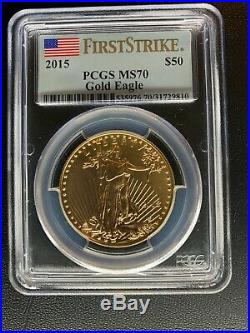 2015 Gold American Eagle Set 4coins Perfect PCGS MS70 Grade-First Strike Label