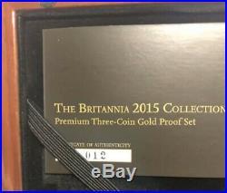 2015 Gold Proof Britannia Premium Set, 1/2, 1/4, 1/10 Oz Pure Gold 999.9