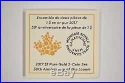 2017 Canada $1.9999 Pure Gold 2 Coin Set 30th Anniversary of the Loonie 156041