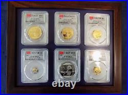 2017 China 3 Oz Pure Gold & Silver Panda 6 Coins Set Pcgs Ms 70 First Strike