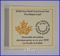 2018 Canada Pure Gold Fractional Maple Leaf Set. 99999 Fine 161361