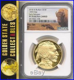 2018 W $50 Proof Gold Buffalo Ngc Pf70 Early Releases Bison Label Perfect