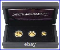 2019 24ct Pure Gold Proof Queen Victoria 200th Anniversary 3 Sovereign Coin Set