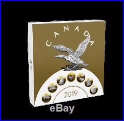 2019 Big Coin Series 5 oz. 99.99% Pure Silver Reverse-Gold Plating 7-Coin Set