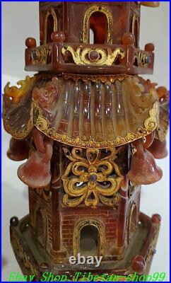 21 Pure Natural Agate Onyx inlay Silver Gold incense burner Tower Pagoda Set