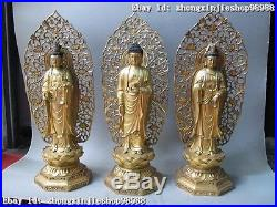22China Pure Bronze 24K Gold Three Saints of the West Ru Lai Buddha Statue Set