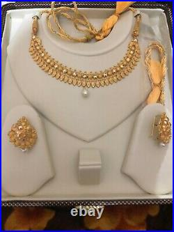 22K (Hallmark 916) PURE SOLID GOLD NECKLACE SET WITH EARRINGS