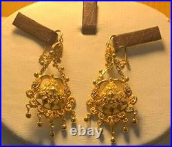 22K Pure Solid Gold Elegant Necklace and Earring pair Set -Traditional Design
