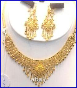 22K Pure Solid Gold Necklace with Earrings Set-Traditional Light weight Design