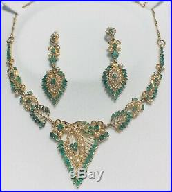 22K Solid Arabic Gold and Pure Middle Eastern Emerald Stone Set