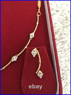 22k Pure Solid Gold Necklace Set With Matching Earrings