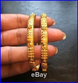 22k Real Pure Yellow Gold Set 2 Bangle Bracelet Stackable India 916 Slipon