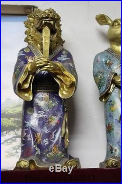 23 China Pure Bronze 24K Gold cloisonne twelve zodiac animals Statue 12 Set