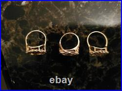 24k Pure Fine Gold Panda Coin In 14k Ring Setting Lot Of 3