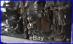 26 Pure Bronze 24K Gold Gilt Child Gourd 3 Longevity God Fu Lu Shou Life Set