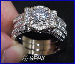 3.00 CTW D/VVS1 Diamond Ring Vintage Engagement Bridal Set 14K White Pure Gold
