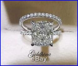 3.50 Crt Cushion Bridal set Sapphire and Diamond Wedding Ring Set Pure 10k Gold