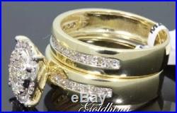 3.50ct Yellow D/VVS1 Diamond Bridal Set Engagement/Wedding Ring 10K Pure Gold