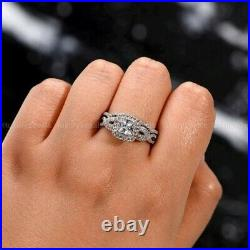 3 CT Real Moissanite Bridal Set Engagement Ring Pure 14k White Gold Princess Cut