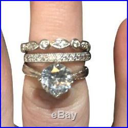 3 CTRound Diamond Solid 10k White Real Pure Gold Ladies Engagement Ring Band Set