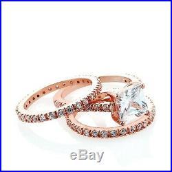 3 Ct Princess Diamond Wedding Band Set 10k Rose Pure Gold Engagement Ring