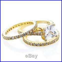 3 Ct Princess Diamond Wedding Band Set 10k Yellow Pure Gold Engagement Ring