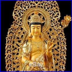 34''Pure bronze copper gold set Three Western Sakyamuni Guanyin mahasthamaprapta