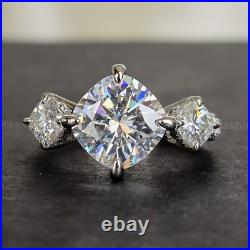 3CT Cushion Cut Moissanite Bridal Set Wedding Ring Pure Solid 14k White Gold