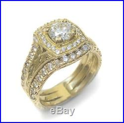 3PCS Real 10k Yellow Solid Pure Gold Engagement Ring Band Set Princess Diamond