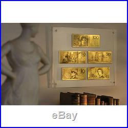 $5-$100 Pure Gold Framed Australian Banknote Set (AO727)