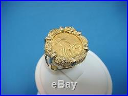 $5 Liberty Pure Gold Coin Set In Handmade 14k Yellow Gold Ladies Ring, 8.5 Grams