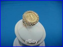$5 Walking Liberty Pure Gold Coin Ring, 14k Yellow Gold Setting, 7 Grams, Size 7