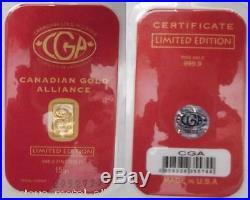51 Grain Gr. 24k Pure 999.9 Fine Certified Gold Bar Bullion Grand Slam Set