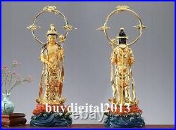59 CM China 24K Gold Pure Copper three Sages Sakyamuni Buddha Bronze Statue Set