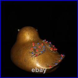 6.8 Exquisite China Pure copper set gemstone Mandarin Duck statue