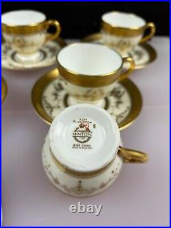 6 x Minton Riverton K227 Gold Pattern Coffee Cups and Saucers Set Perfect RARE