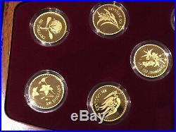 7 x Floral Emblems of Australia. 999 pure Gold Proof Coins Set