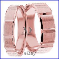 7mm & 5mm Diamond Cut Matching Wedding Band Set Pure 10K Gold Wedding Ring Set