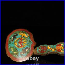 8.2China Gold plating on pure copper set Gem Cloisonne Pinching silk Ruyi