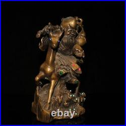 8 old China Pure copper set gemstone Old man riding deer statue