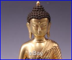 9 Thailand Pure Bronze 24K Gold Sakyamuni Shakyamuni Tathagata Buddha Statue Set