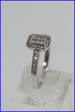 9ct Perfect Fit White Gold Diamond Ring Set 375 Size O 1/2
