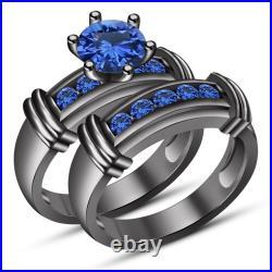 A Perfect Antique Black Gold Finish Round Cut Lab Blue Sapphire Ring Bridal Set