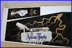 ADDAMS FAMILY GOLD Screen Printed Cabinet Decal Set, PERFECT & RARE