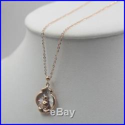 AU750 Pure 18k Rose Gold Buddha Pendant O Link Set Of Chain Adjust Necklace/4.1g