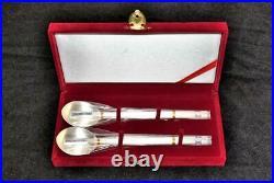 Ag. 999 Pure Silver Gold Garden Korean Silver Set of 2 Silver Spoon & Chopstick