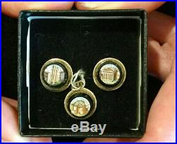 Amazingly Detailed Antique Gold And Micro Mosaic Pendant And Earrings! Perfect