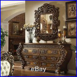 Ant Gold & Perfect Brown Cal King Bedroom Set 5 Homey Design HD8011 Traditional